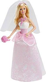 Кукла Барби Barbie Королевская невеста в белом платье с розовым узором CFF37