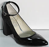 Туфли лодочки черные женские от производителя модель КЛ9011-8, фото 2