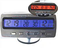 Автомобильные часы VST - 7045V подсветка синяя оранжевая + 2 термометра + вольтметр аккумулятора авто 12В-24В