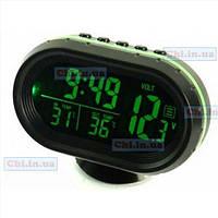 Автомобильные часы VST - 7009V подсветка синяя оранжевая зеленая + 2 термометра + вольтметр аккумулятора авто 12В-24В