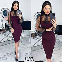Комбинированное платье женское (5 цветов) ЕФ/-499 - Бордовый, фото 1