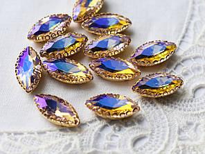 Стразы стеклянные Маркиз (Лодочка) 15*7 мм, в оправе, персик АВ