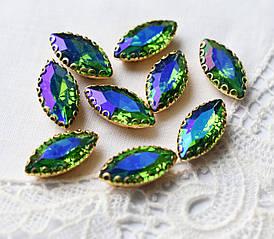 Стразы стеклянные Маркиз (Лодочка) 15*7 мм, в оправе, зеленые АВ