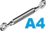 Талреп кольцо-кольцо М8 из нержавеющей стали A4 (10 шт/уп)