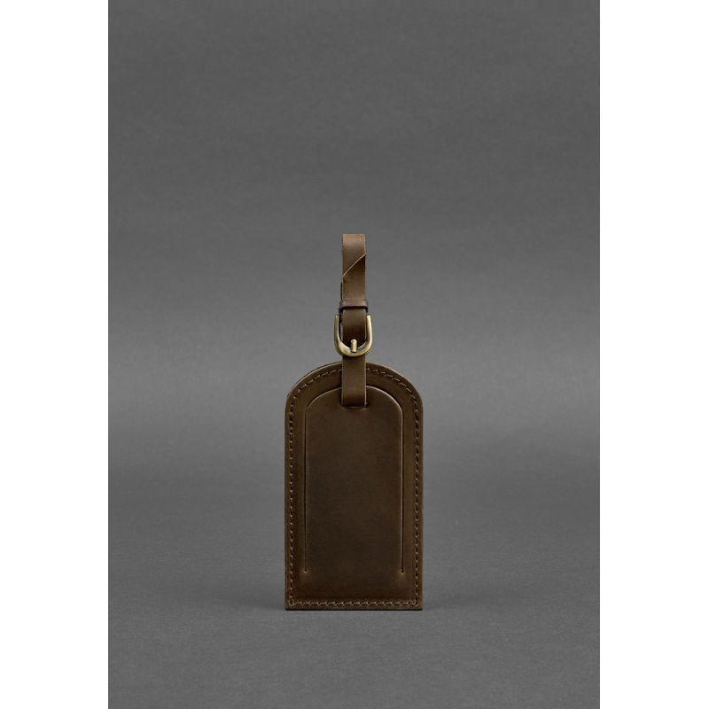 Кожаная бирка для багажа 2.0 Темно-коричневая Crazy Horse