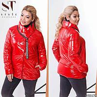 Женская блестящая куртка большого размера с карманами