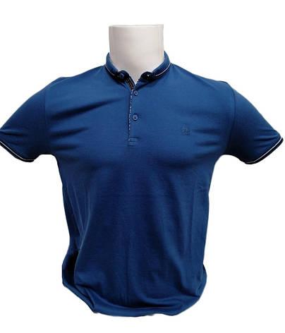 Футболка поло мужская STEEL WAY из ткани ла коста Синяя, фото 2