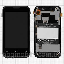 Дисплейный модуль (дисплей + сенсор) для Prestigio MultiPhone 4020 Duo, c передней панелью, оригинал
