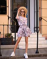 Стильное летнее платье, (40-46рр), принт бутон на сиреневом, фото 1