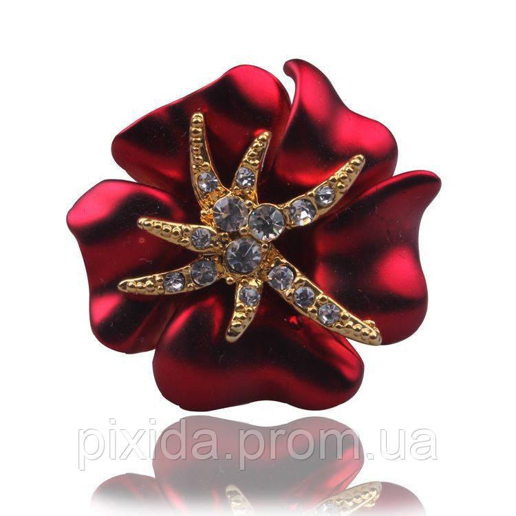 Кольцо цветок эмаль-бархат покрытие золото 18К сваровски