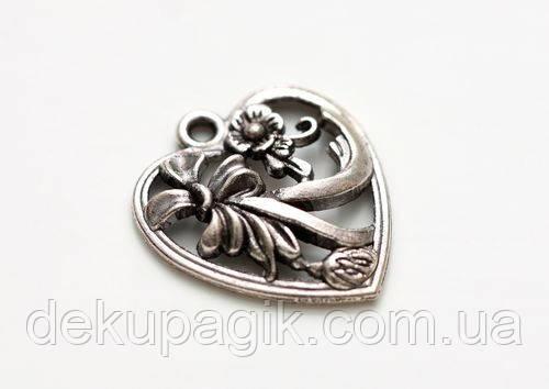 Металлическая подвеска Сердце с цветочками, 19*22мм