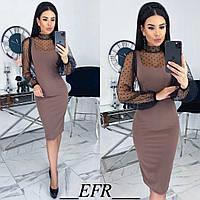 Комбинированное платье женское (5 цветов) ЕФ/-499 - Кофейный, фото 1