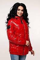 Двухцветная женская куртка деми ЛАК -1237, в расцветках (44-54) красный/чёрный