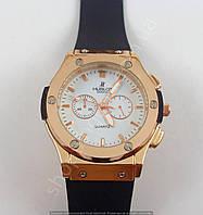 Мужские часы Hublot 6581 бронзовые с белым циферблатом