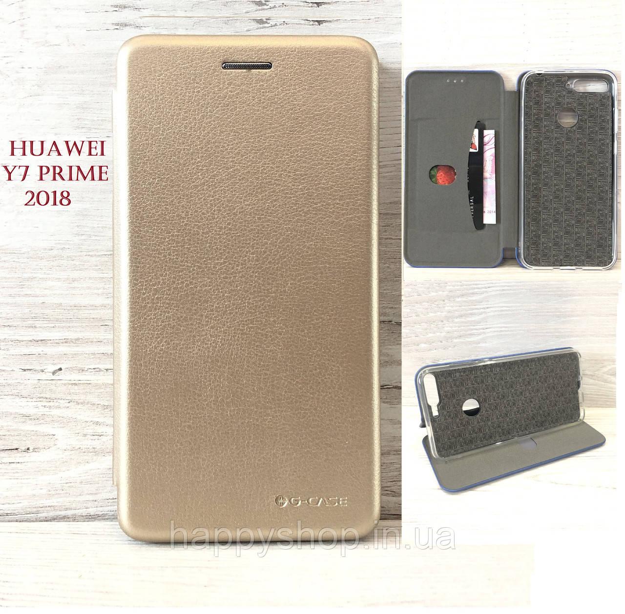Чехол-книжка G-Case для Huawei  Y7 Prime 2018 (LDN-L21) Золотистый