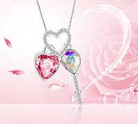 Бижутерия с кристаллами swarovski elements, розовая подвеска бижутерия xuping Ключ от Сердца