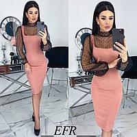 Комбинированное платье женское (5 цветов) ЕФ/-499 - Розовый, фото 1