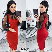 Комбинированное платье женское (5 цветов) ЕФ/-499 - Красный, фото 1