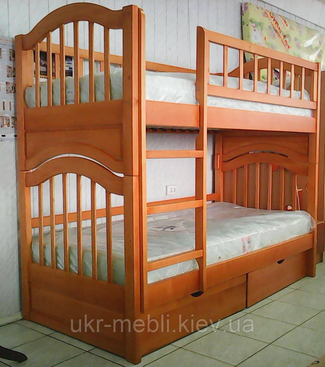 Двухъярусная кровать из натурального дерева с выдвижными ящиками Джулия трансформер, Орион