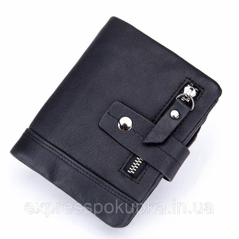 Мужской кожаный кошелек Stela Italia Черный | Мужской бумажник из натуральной кожи