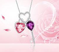 Бижутерия с кристаллами Swarovski elements, бижутерия хупинг xuping кулон с цепочкой Ключ от Сердца фиолетовый