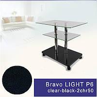 Стол журнальный стеклянный прямоугольный Commus Bravo Light P6 clear-black-2chr50