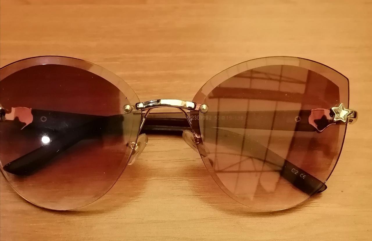 Стильные женские солнцезащитные очки, без оправы коричневого цвета
