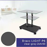 Стеклянный журнальный столик на колесиках прямоугольный Commus Bravo Light P6 clear-gray-2chr50
