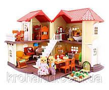 Двухэтажный кукольный домик со зверушками из флокса / Дом игровой для кукол Happy Family 012-01
