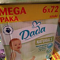 Влажные детские салфетки DADA Naturals 72 на 6шт Польша