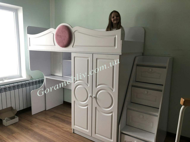 """На фото: детская кровать-чердак """"Престиж-2"""" белого цвета с фасадами МДФ. Фото наших покупателей"""