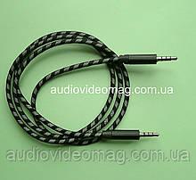 Аудіо-відео AUX кабель 3.5 (4 pin) штекер-штекер, довжина 1 метр