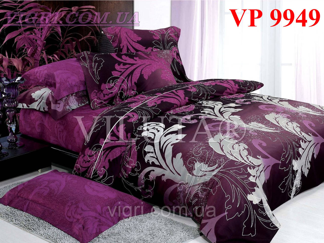 Постельное белье, евро комплект, ранфорс, Вилюта «VILUTA» VР 9949