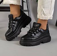 Стильные демисезонные женские кожаные кроссовки на высокой платформе на танкетке черные 52HG03-4IK