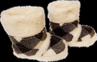 Домашние тапочки из овчины Sheepskin Ромбики Размер 39-40, фото 3