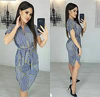 Платье с полосками летнее женское полубатал (ПОШТУЧНО) L/46-48, фото 1