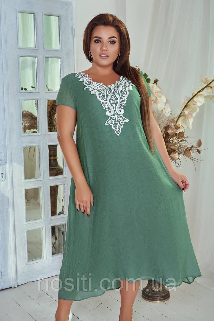Свободное женское платье из коттона болльшие размеры