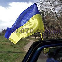 Флаг украинский с крепежом на стекло автомобиля, блистер, фото 1