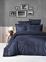 Комплект постельного белья First Choice Jacquard Tecna Lacivert сатин 220-160 см синий