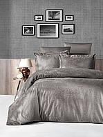 Комплект постільної білизни First Choice Jacquard Tecna Vizon сатин 220-160 см бежевий, фото 1