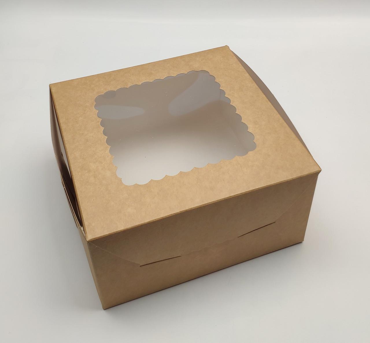 """Коробка для десертов и зефира """"Крафтовая с окном 17*17*9 см"""""""