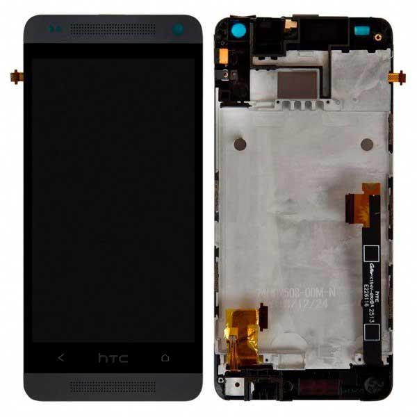 Дисплей HTC One mini 601n с сенсором и передней панелью, черный ( без нижней вставки)