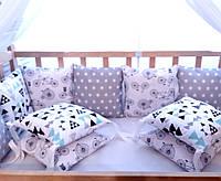 Комплект бортиков в кроватку со съёмными наволочками