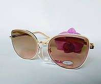 Стильные имиджевые солнцезащитные женские очки бежевые (0686)