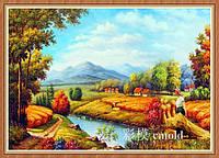 "Алмазная живопись ""Сенокос на берегу реки"""