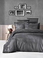 Комплект постельного белья First Choice Jacquard Tecna Fume сатин семейный темно серый