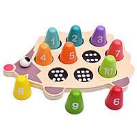 """Деревянная рамка вкладыш """"Ёжик"""" (пирамидки с цифрами, сортер) развивающая игрушка для самых маленьких"""