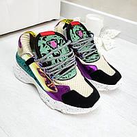 Яркие гламурные кроссовки на массивной танкетке разноцветные, женская обувь спорт
