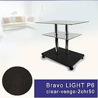 Журнальный столик из стекла и металла прямоугольный Commus Bravo Light P6 clear-venge-2chr50
