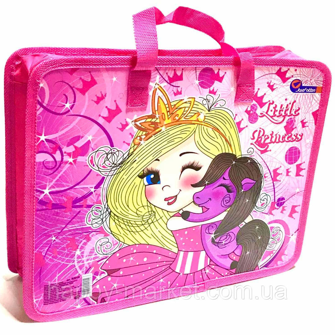 Папка-портфель на молнии с ткаными ручками Принцесса 2016